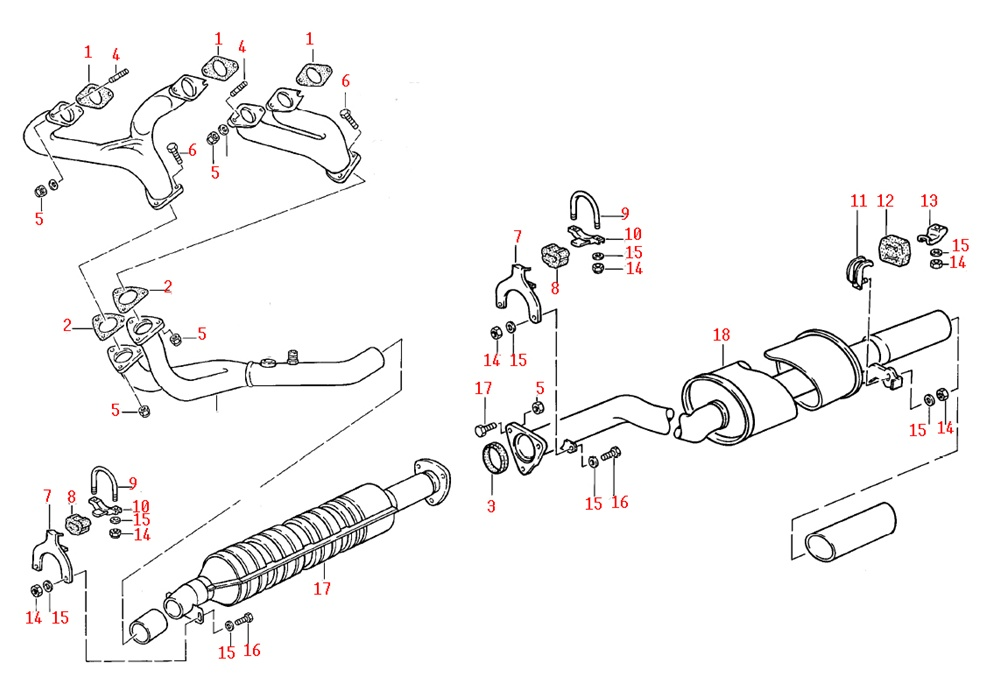 paragon products porsche 924s porsche 944 na exhaust system parts rh paragon products com diagram of exhaust system 1976 amc pacer diagram of exhaust system on 2010 tacoma v6
